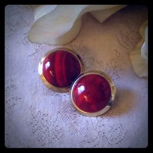 Vintage Brass Domed Cabochon Earrings